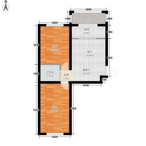 隆达丽景世纪城2室1厅1卫1厨71.00㎡户型图