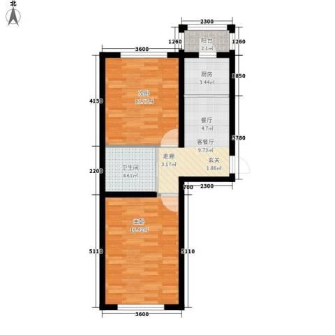隆达丽景世纪城2室1厅1卫1厨64.00㎡户型图
