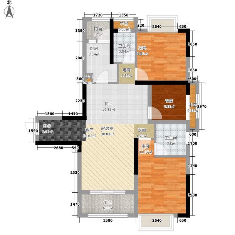 中庚城97.72㎡F地块高层F3户型2室2厅