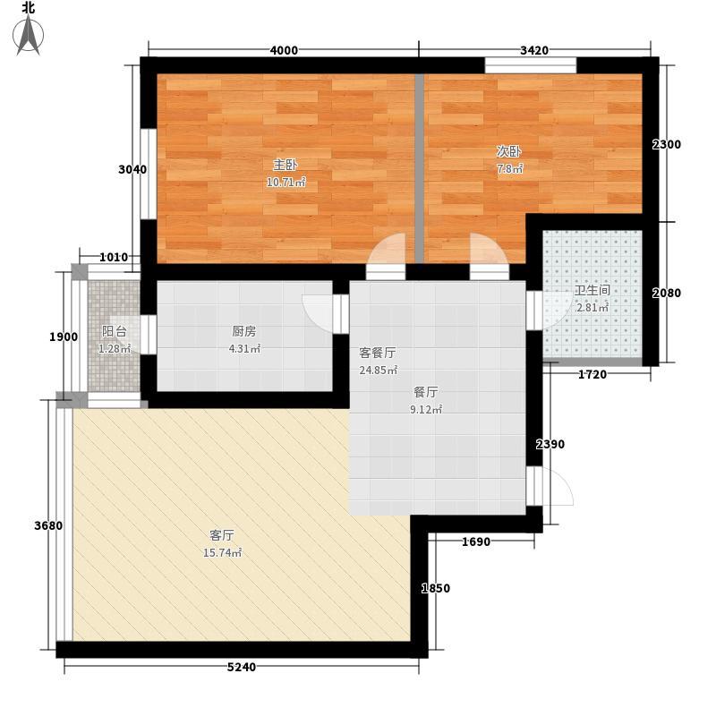 绿海华庭62.13㎡绿海华庭户型图高层C户型2室1厅1卫1厨户型2室1厅1卫1厨