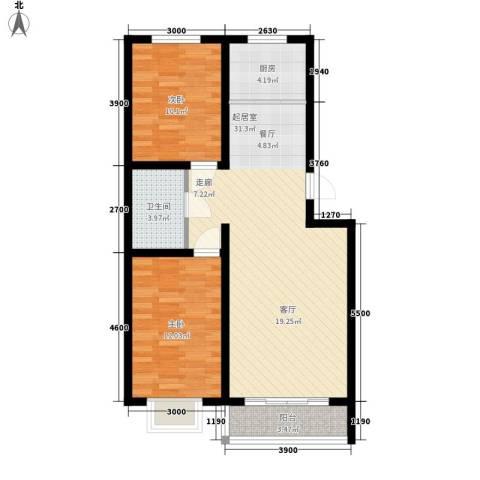 左岸阳光2室0厅1卫1厨88.00㎡户型图