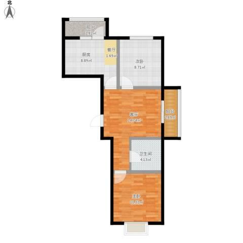 沿湖城2室1厅1卫1厨76.00㎡户型图