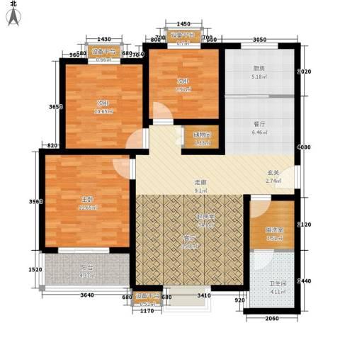 天慧国际3室0厅1卫1厨116.00㎡户型图