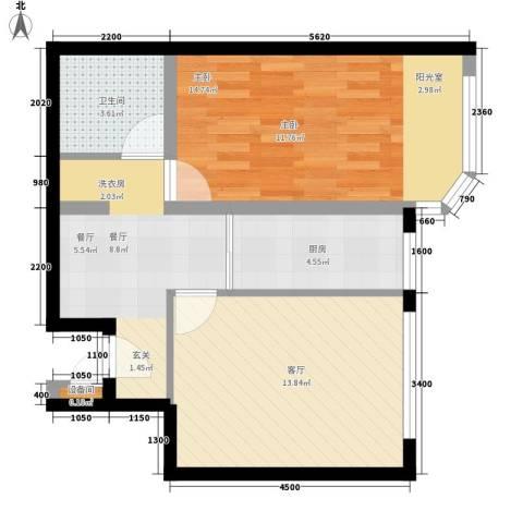 宏盛家园西区1室2厅1卫1厨62.00㎡户型图