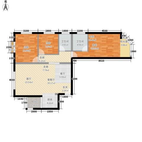 宏盛家园西区3室1厅2卫0厨117.00㎡户型图