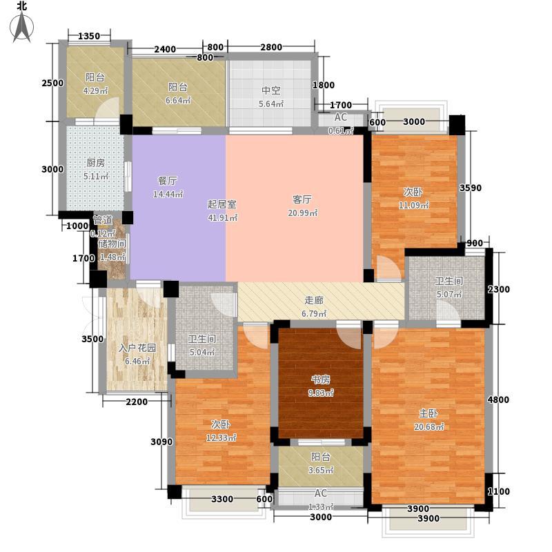 华润橡树湾B2B型标准层户型4室2厅
