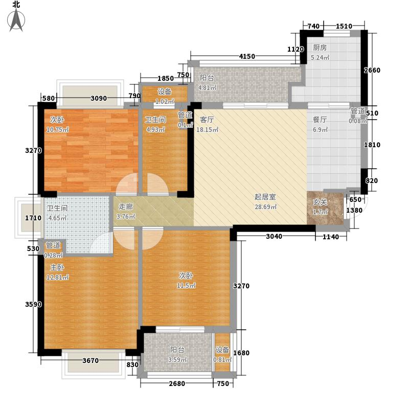中庚城113.76㎡东郡组团11号楼2-26层双卫1、4号房C户型3室2厅