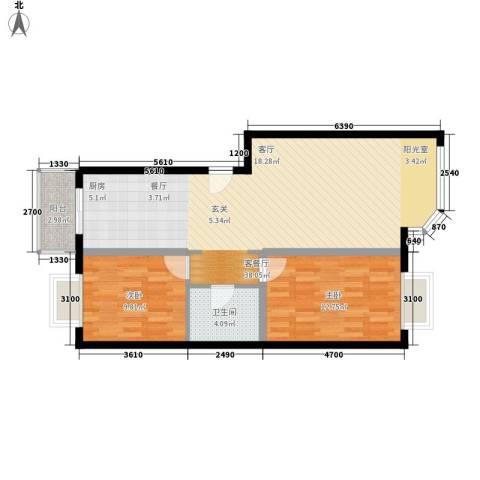 宏盛家园西区2室1厅1卫0厨84.00㎡户型图
