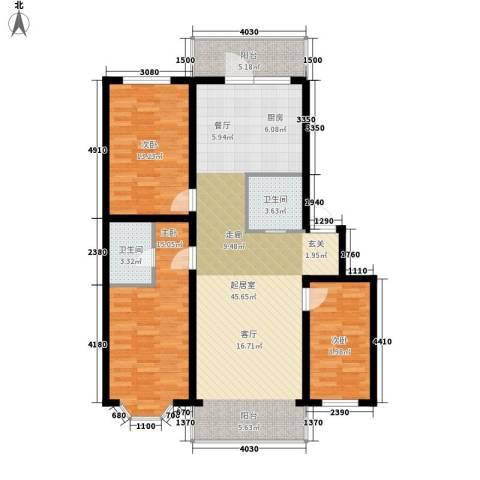 海富山水文园3室0厅2卫0厨133.00㎡户型图