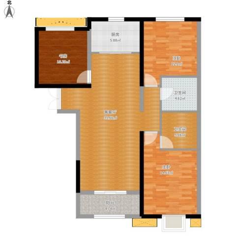 京润现代城3室1厅2卫1厨131.00㎡户型图