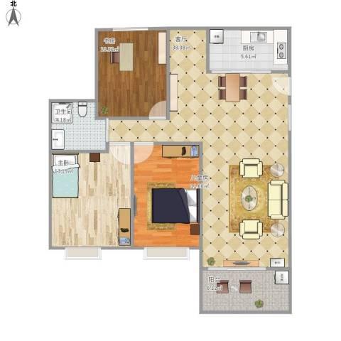 昌和水岸花城3室1厅1卫1厨120.00㎡户型图
