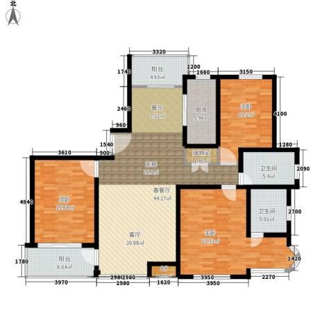 新时代富嘉花园3室1厅2卫1厨141.00㎡户型图