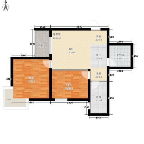 曲江上郡2室1厅1卫1厨88.00㎡户型图