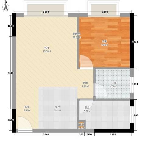 都市晨光1室0厅1卫1厨50.00㎡户型图
