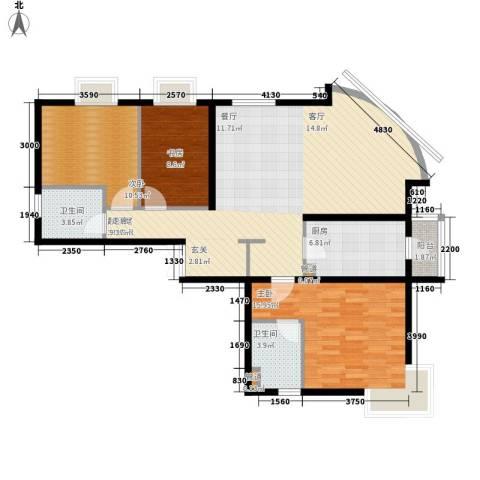 新华联丽景3室0厅2卫1厨139.00㎡户型图