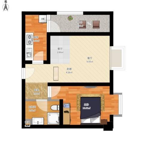鸿阁一号1室1厅1卫1厨65.00㎡户型图