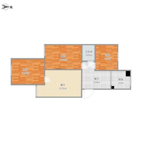 草桥欣园三区3室2厅1卫1厨88.00㎡户型图