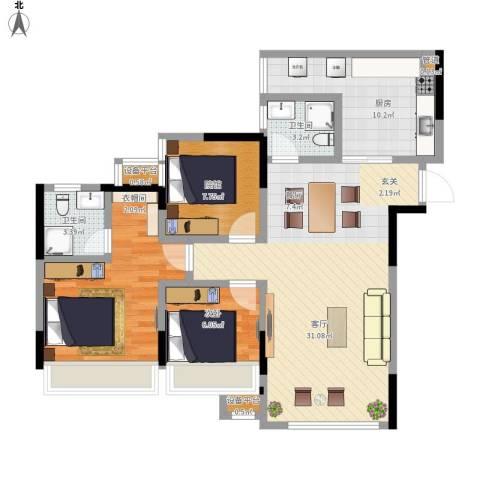东邦城市花园2室1厅2卫1厨111.00㎡户型图