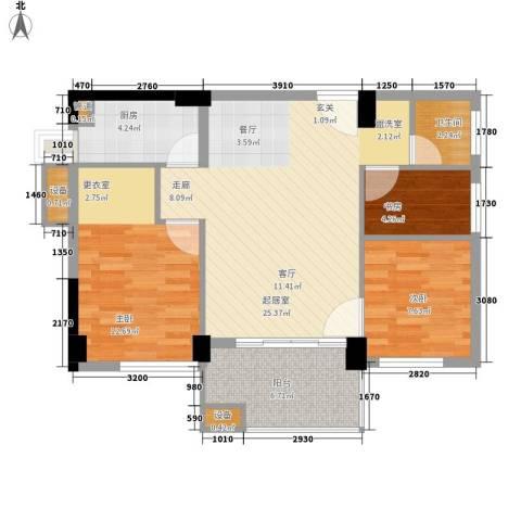 阳光城新界3室0厅1卫1厨77.00㎡户型图