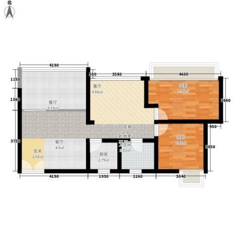 百步滨江2室1厅1卫1厨62.00㎡户型图