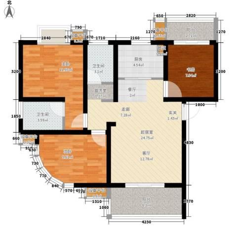 风华四季园3室0厅2卫1厨102.00㎡户型图