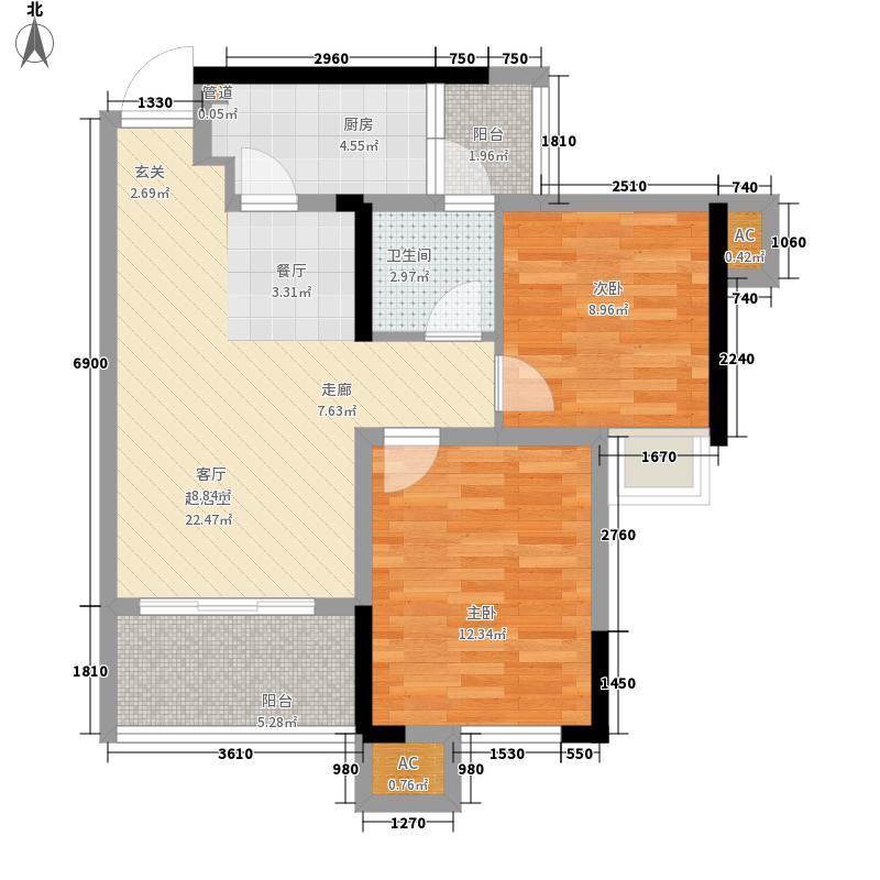 美乐广场75.20㎡一期一批次5号楼标准层B4户型2室2厅1卫1厨