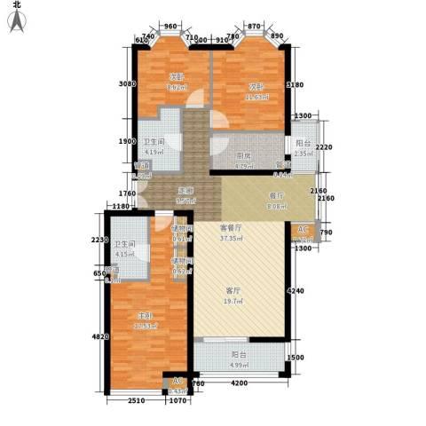 学风19113室1厅2卫1厨119.00㎡户型图