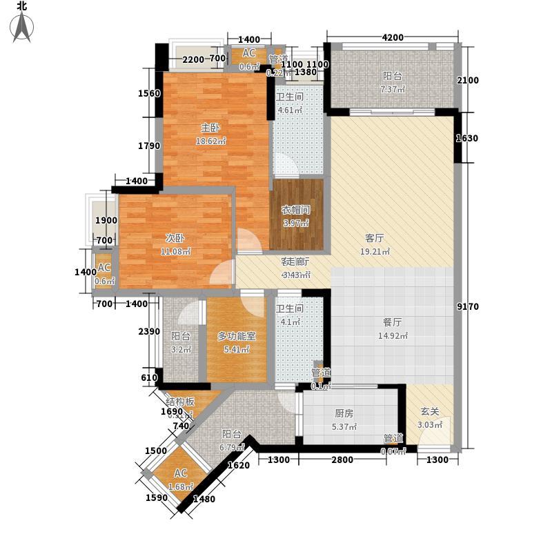 国际社区112.31㎡江御二期1号楼标准层C2户型