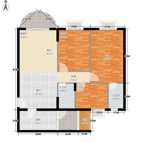 尚贤坊3室1厅2卫1厨127.00㎡户型图