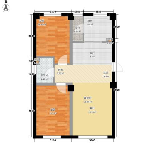 东城宜家2室1厅1卫1厨88.00㎡户型图