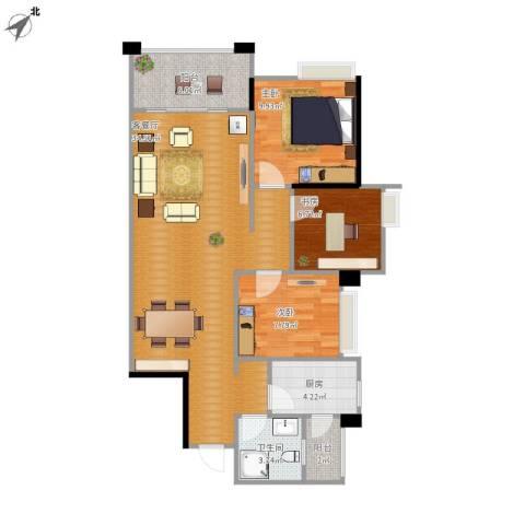 风度花园3室1厅1卫1厨102.00㎡户型图