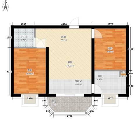 左岸阳光2室0厅1卫1厨72.00㎡户型图