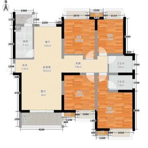 南湖一号4室0厅2卫1厨139.00㎡户型图