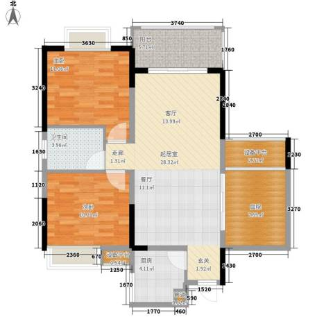 钱隆学府二期2室0厅1卫1厨87.00㎡户型图