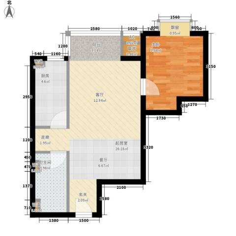 万方景轩1室0厅1卫1厨65.00㎡户型图