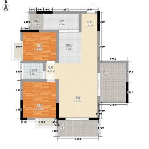 中糖大城小院2室1厅1卫1厨81.34㎡户型图