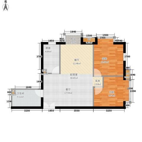 万方景轩2室0厅1卫1厨88.00㎡户型图