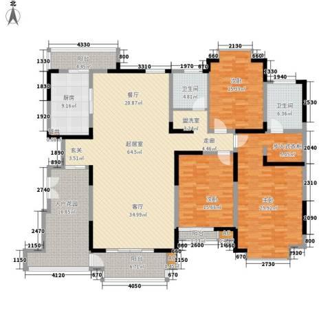 南湖一号3室0厅2卫1厨187.00㎡户型图