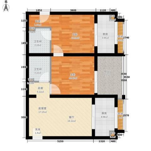 南湖一号2室0厅2卫2厨90.00㎡户型图
