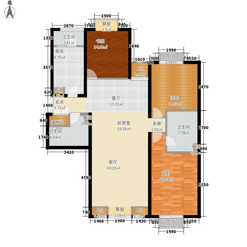 风格雅园151.46㎡户型3室2厅2卫1厨