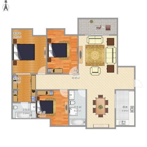 吴中豪景华庭2室1厅2卫1厨150.00㎡户型图