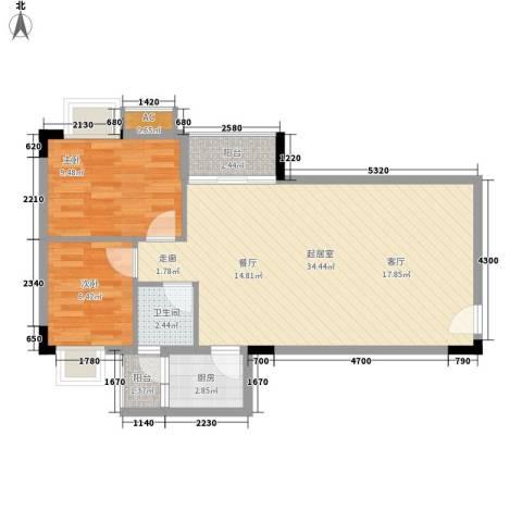 滨江绿园2室0厅1卫1厨68.00㎡户型图