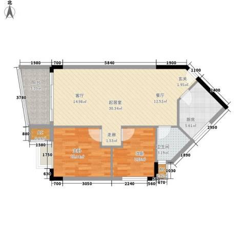 滨江绿园2室0厅1卫1厨71.00㎡户型图