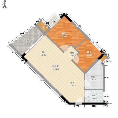 滨江绿园2室0厅1卫1厨66.00㎡户型图