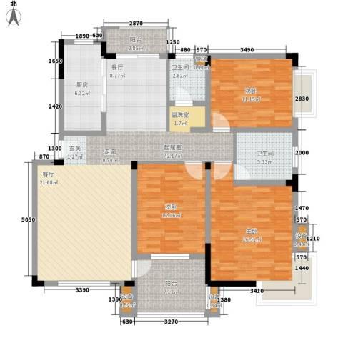 名门世家3室0厅2卫1厨128.00㎡户型图
