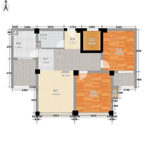 名门世家2室0厅1卫1厨97.00㎡户型图
