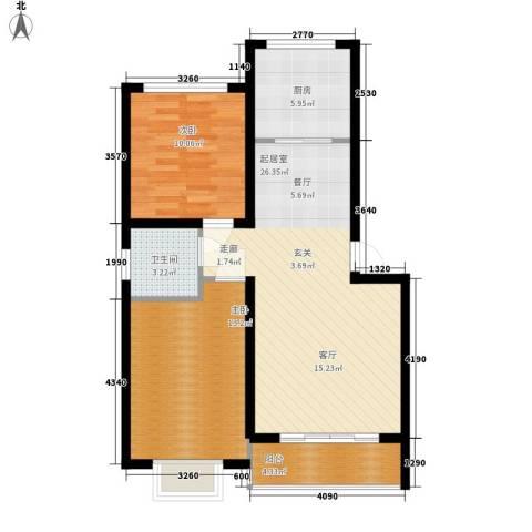 彼岸2室0厅1卫1厨86.00㎡户型图