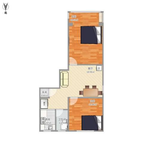 荷一小区2室1厅1卫1厨67.00㎡户型图