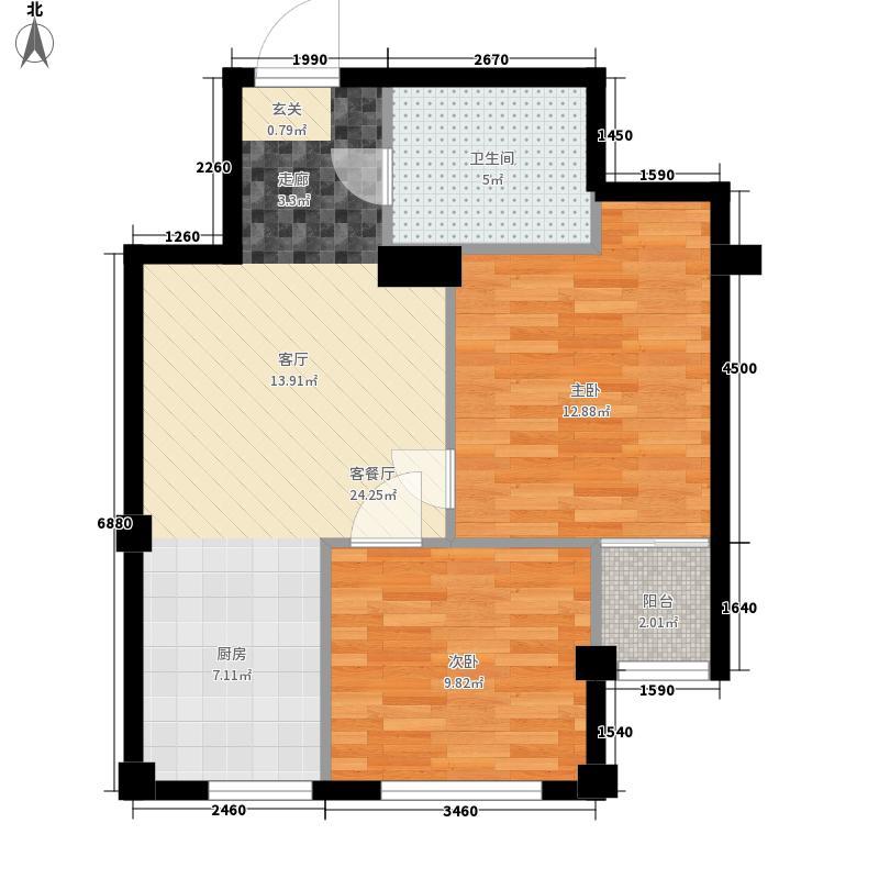 天成海尚61.11㎡1号楼C户型2室1厅1卫1厨
