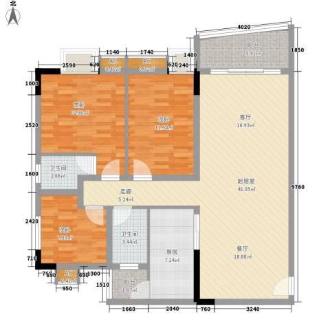 滨江绿园3室0厅2卫1厨108.00㎡户型图